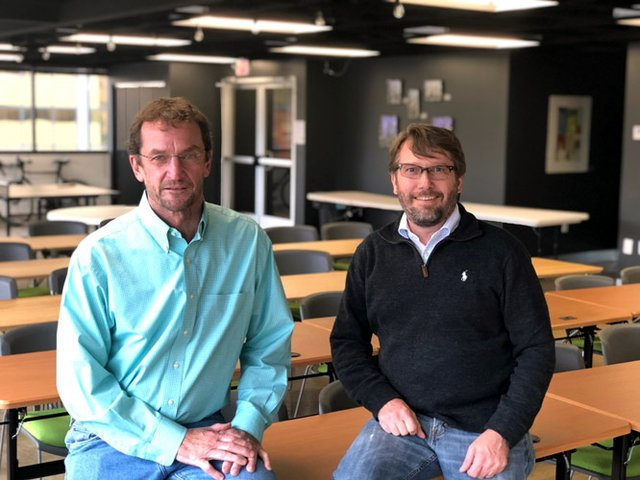 Base110 owners Tim Guthrie (left) and Randall Stevens, in Creative Offsite, the event space on the 4th floor_photo provided.jpg