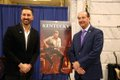 JD Shelburne with Gov. Beshear Senior Advisor Rocky Adkins who played Bluegrass music opening Kentucky Tourism press conference.JPG