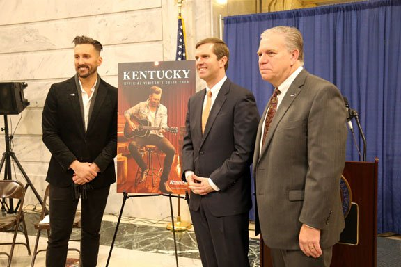 Kentucky Tourism unveiling cover of Official Visitor's Guide featuring JD Shelburne (left) with Gov. Beshear and Mike Berry, Secretary of Tourism, Arts & Heritage Cabinet (left to right)-2.JPG.JPG