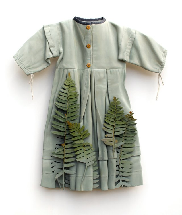 "25. ""The Fern Child,"" 2019 (Amish child's dress, Ohio, c.1890-1910); private collection..jpg"