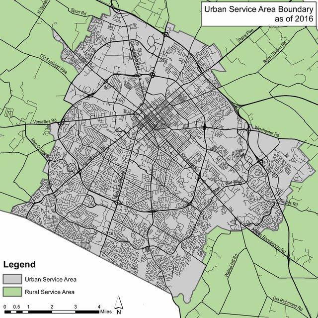 Lexington service area map